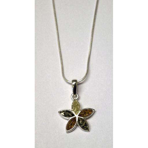 5 point Amber Pendant Necklace