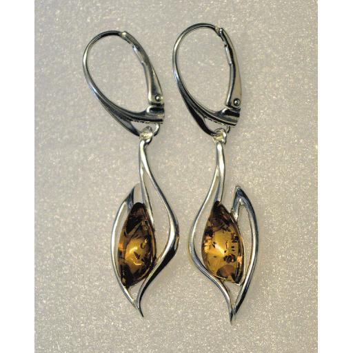 Lever Closing Amber Drop Earrings