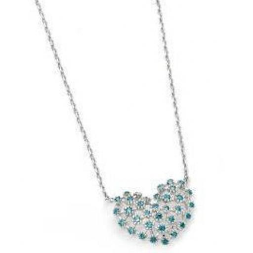 Blue Cubic Zirconia Heart Necklace