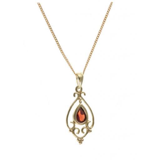 Natural Garnet Fancy Pendant necklace