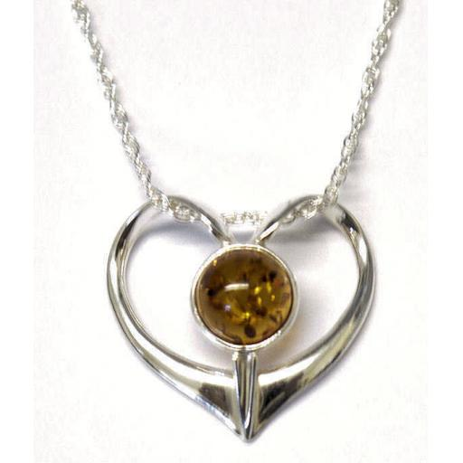 Heart Necklace featuring Natural Baltic Amber
