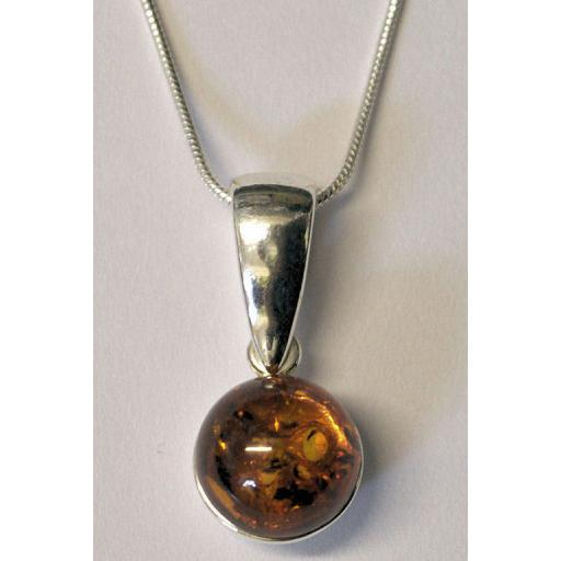 Round Amber Pendant Necklace