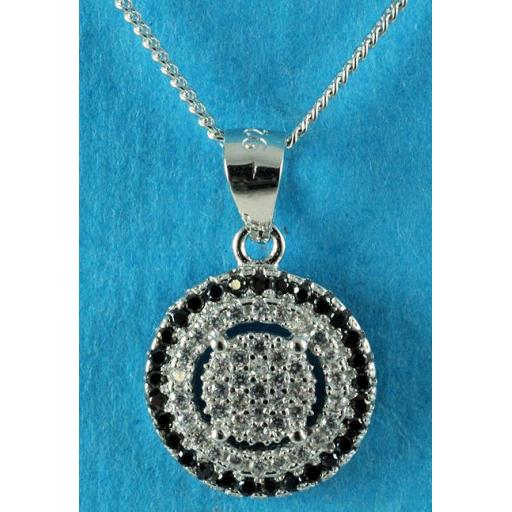 clear and black Cubic Zirconia necklace