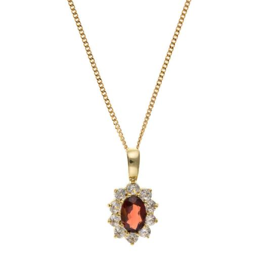 Natural Garnet and CZ necklace