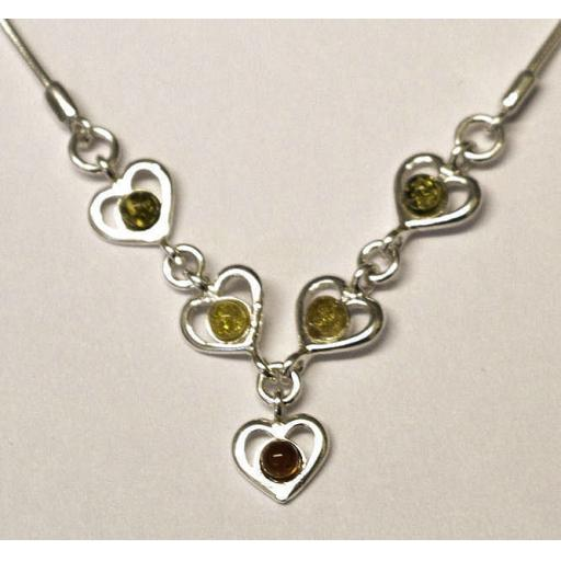 3 Colour Amber Heart Necklace