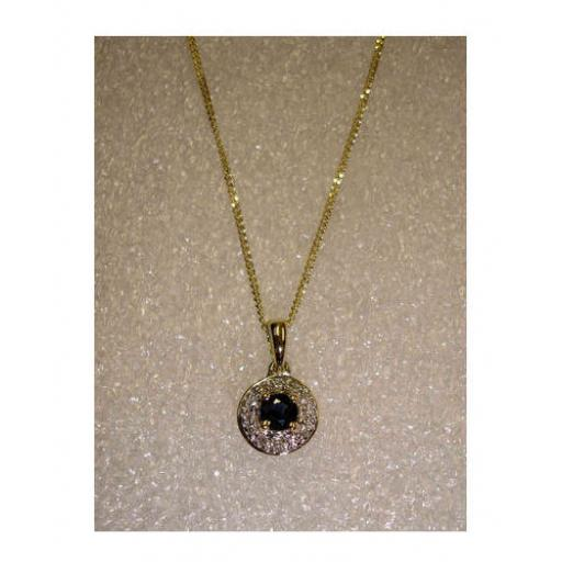 9ct Gold Blue Sapphire And Diamonds Pendant Necklace