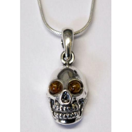 Amber Skull Pendant Necklace