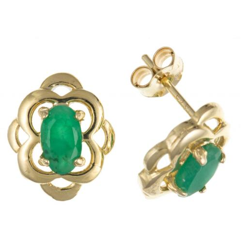 9ct Gold Real Emerald Celtic Stud Earrings