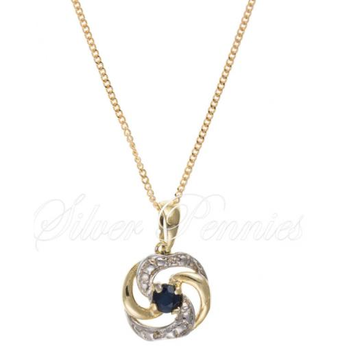 9ct Gold Sapphire Swirl Necklace