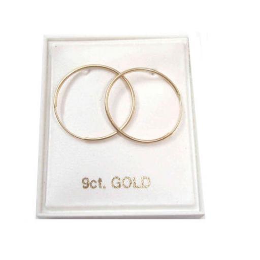 9ct Gold 15mm Hoop Earrings