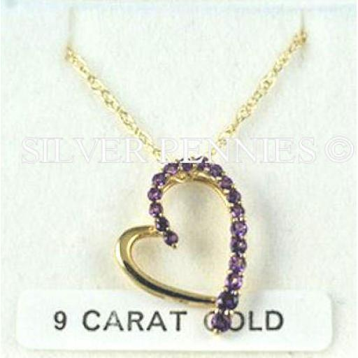 9ct Gold And Amethyst Heart Pendant