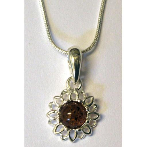 """Round Flower"" Amber pendant necklace"