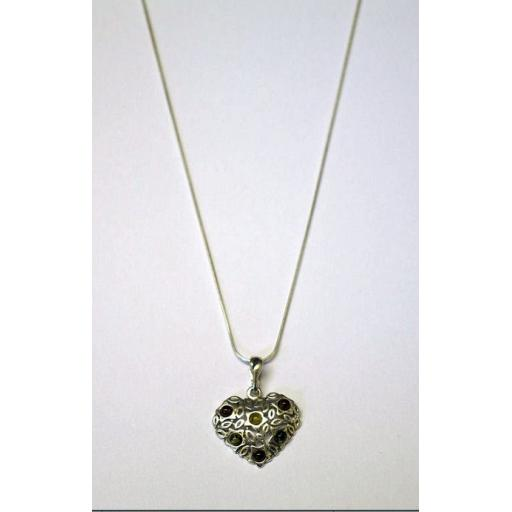 Amber and Silver Heart Pendant Necklace.jpg
